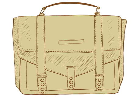 diplomat: Sketch of an old brown bag of a portfolio