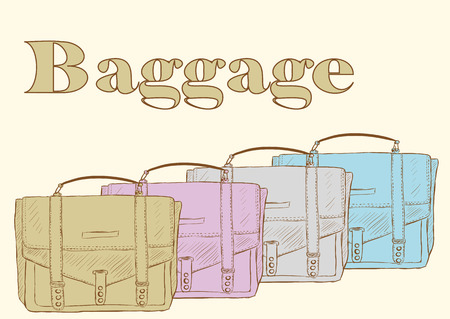 unsightly: Old color bags with an inscription baggage