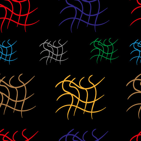 usual: Seamless texture with a colorful wavy lattice against a dark background