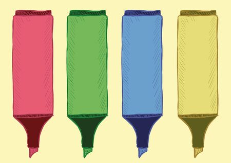 tip style design: Clipart from four sketches of color felt-tip pens