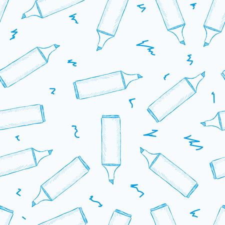 konturen: Nahtlose Textur mit blauen Konturen Marker Illustration