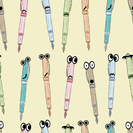 cranky: Seamless texture of colored pens with eyes and emotions Illustration