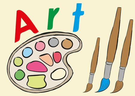 september 1: Illustration of brushes and paints on a palette