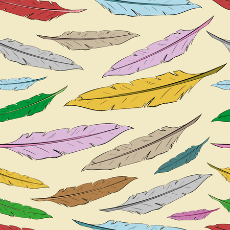 negligent: Seamless texture with color feathers on a light background