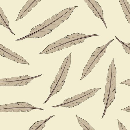 negligent: Seamless texture with brown feathers on a light background