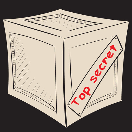 Box against a dark background with an inscription top secret Illustration