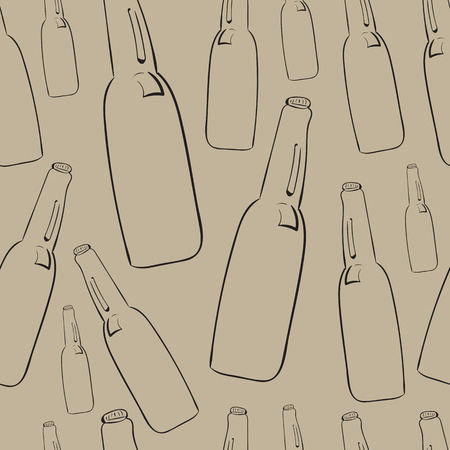 konturen: Nahtlose Textur mit Konturen von Bierflaschen