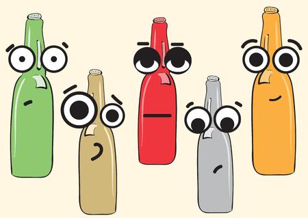 Clipart with emotional big-eyed color bottles of beer