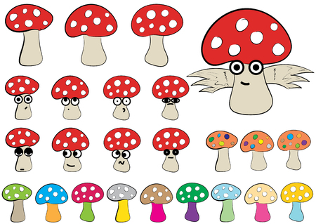 Clipart with multi-colored, winged, big-eyed fly agarics