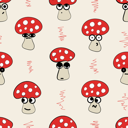suspiciousness: Seamless texture with big-eyed emotional fly agarics Illustration
