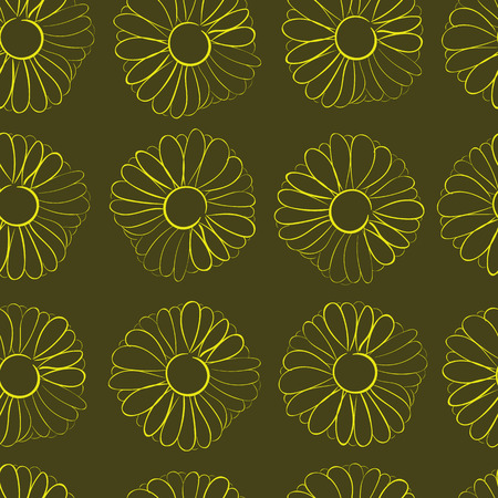 contours: Seamless texture with contours of camomiles against a dark background