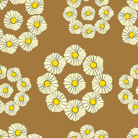 camomiles: Seamless texture with wreaths from camomiles on the light