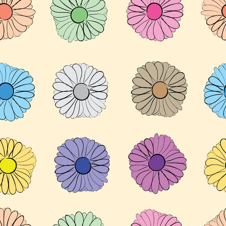 camomiles: Seamless texture with multi-colored flowers camomiles on a light background Illustration