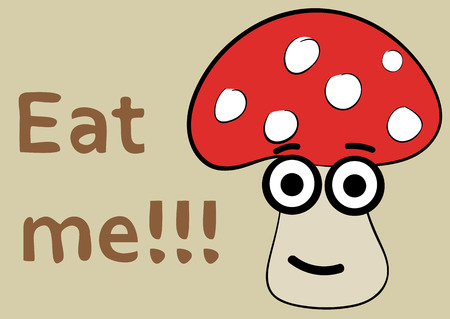 a fly agaric: Fly agaric with a smile and eyes and an inscription eat me Illustration