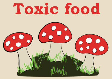 toxins: Earth island with a grass and three fly agarics