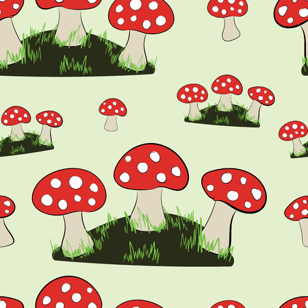 inedible: Seamless texture with glades of fly agarics