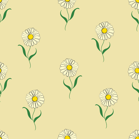 camomiles: Seamless texture with sketches of flowers of camomiles