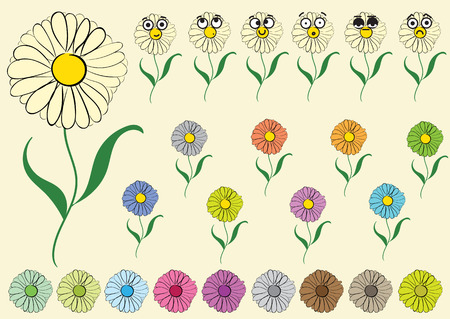 dissatisfied: Clipart with big-eyed emotional multi-colored flowers camomiles