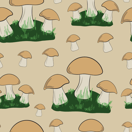 glades: Seamless texture with glades of mushrooms and a grass