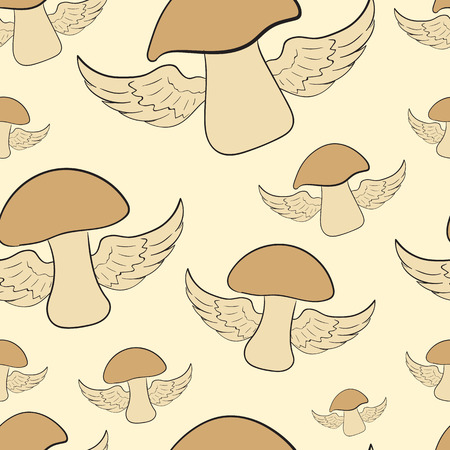 winged: Seamless texture with the flying winged mushrooms