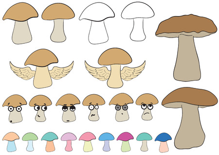 Clipart with various multi-colored big-eyed mushrooms and contours