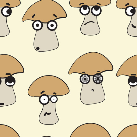 cranky: Seamless texture with emotional big-eyed mushrooms with looks