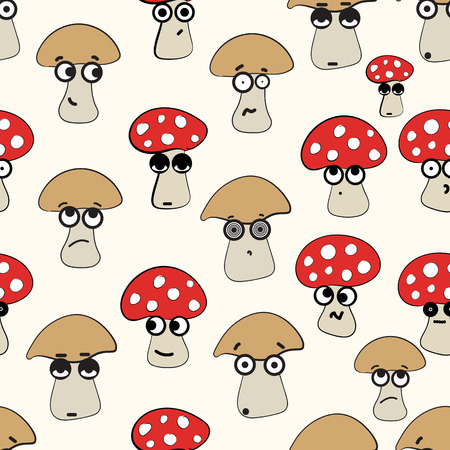 inedible: Seamless texture with emotional big-eyed mushrooms and fly agarics Illustration