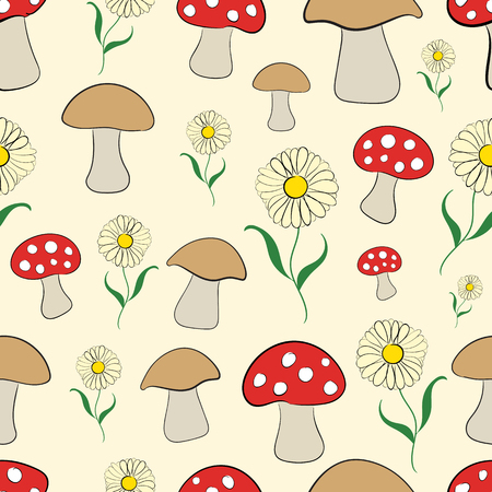 toxins: Seamless texture with mushrooms, camomiles and fly agarics