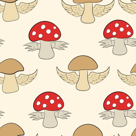 negligent: Seamless texture with winged mushrooms and fly agarics