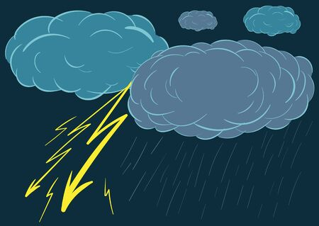 cloudless: Illustration with a thunder-storm, a lightning, a rain and clouds