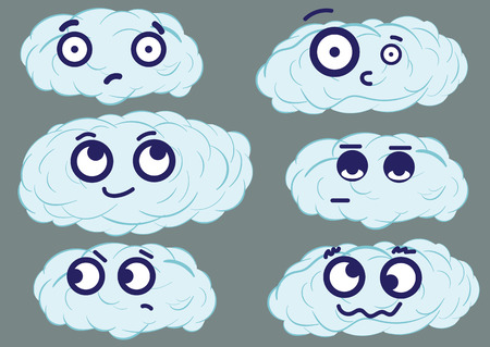 blue clouds: Clipart with big-eyed emotional blue clouds on a gray background