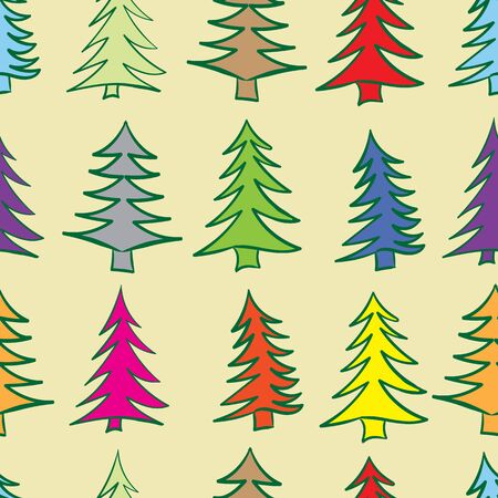 firtrees: Seamless texture with color Christmas fir-trees on a light background