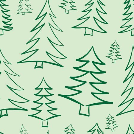 firtrees: Seamless texture with contours Christmas fir-trees on a light background