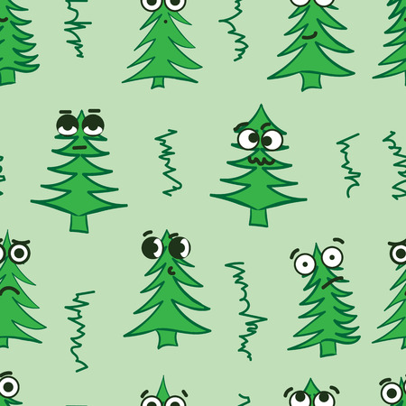 hostility: Seamless texture with emotional big-eyed green Christmas fir-trees Illustration