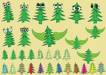 firtrees: Clipart with various color emotional big-eyed fir-trees