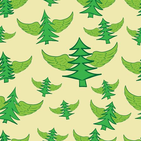 firtrees: Seamless texture with winged green fir-trees on a light background Illustration