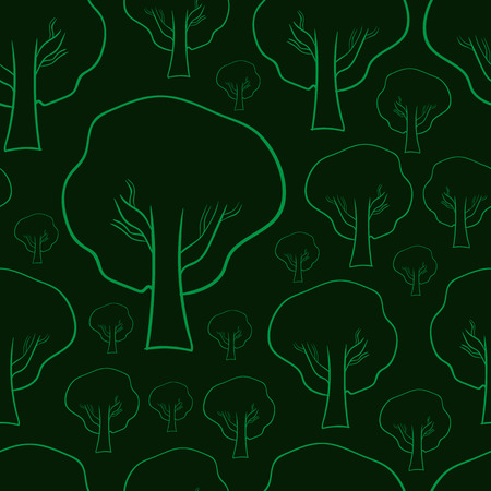 contours: Seamless texture with green contours of trees Illustration