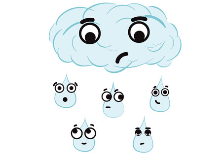 dissatisfaction: Emotional blue cloud with big-eyed drops the sky
