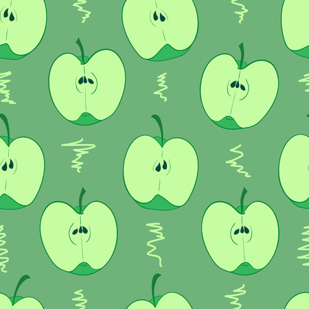 green apples: Seamless texture with halves of green apples