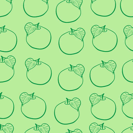 contours: Seamless texture with apples contours and a leaf on a green background Illustration