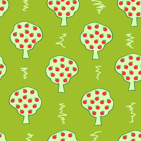 appletree: Seamless texture with green apple-trees and red apples Illustration