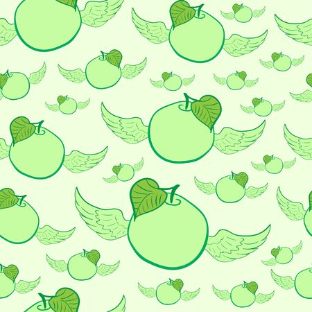 green apples: Seamless texture with winged green apples and a leaf