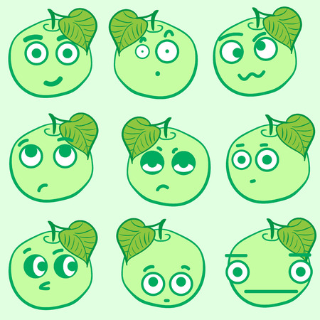 hostility: Clipart with emotional big-eyed green apples with leaves