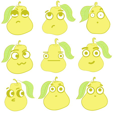 hostility: Clipart with emotional big-eyed yellow pears with leaves