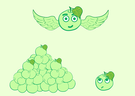small group: Illustration with winged apple with eyes and a small group of apples Illustration