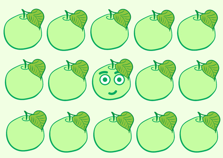 The smiling apple among the usual green  イラスト・ベクター素材
