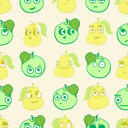 hostility: Seamless texture with emotional big-eyed apples and pears Illustration