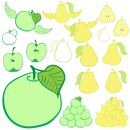 apple clipart: Clipart with green apples and yellow pears Illustration