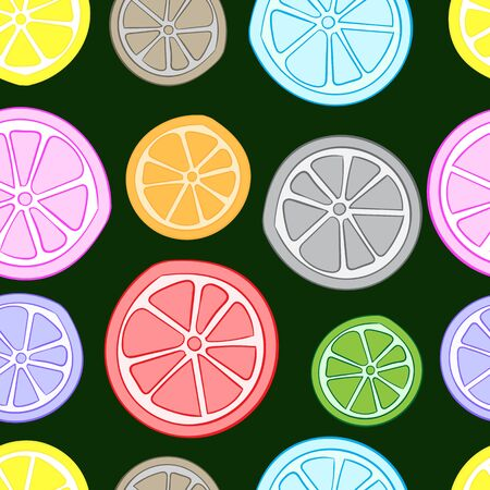 citrus fruit: Seamless texture with multi-colored citrus fruit on the dark