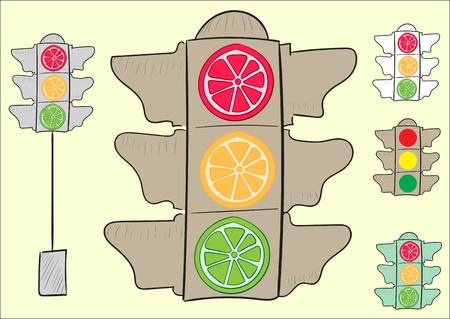 unsightly: Clipart with sketches of fruit and ordinary traffic lights Illustration